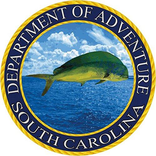South Carolina Sticker, Department of Adventure State Seal SC Dolphin Tuna Fish Green - Vinyl Decal Label for Water Bottle Laptop Luggage Bike Laptop Tacklebox 5 Gal Bucket Bumper Helmet Waterproof