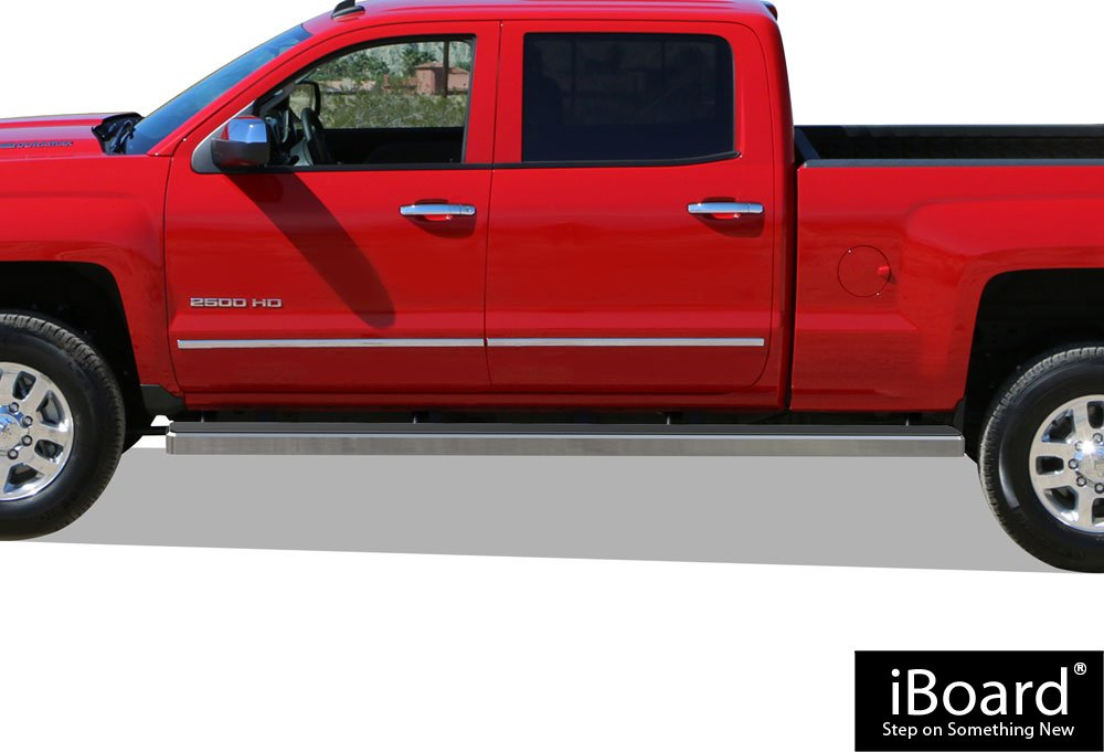 APS iBoard Running Boards (Nerf Bars   Side Steps) for 2007-2018 Chevy Silverado/GMC Sierra Crew Cab 6.5ft Bed & 2019 2500 HD / 3500 HD (Excl. 07 Classic Models)   (Silver 6 inches Wheet to Wheel)