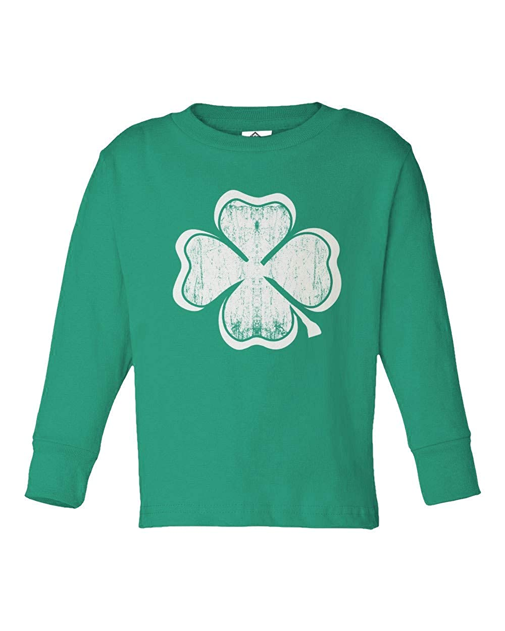 Sheki Apparel Distressed Green Four Leaf Clover Raw-Edge Toddler Long Sleeve T-Shirt