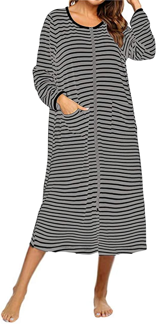 SUNNYME Damen Badem/äntel mit Rei/ßverschluss Baumwolle Lange Morgenmantel Nachthemd Streifenmuster Nachtw/äsche