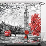Beshowere Shower Curtain oil painting on canvas street view of london artwork big ben man and woman under a red umbrella