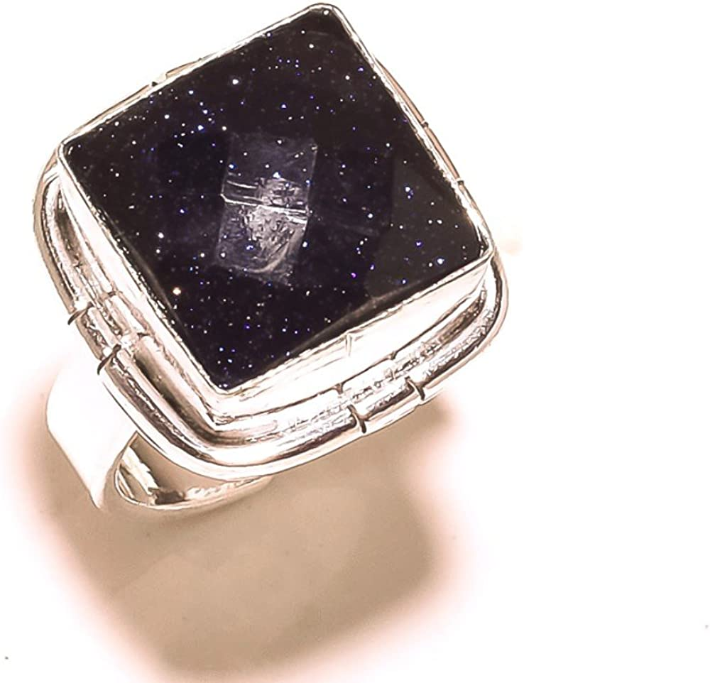 Sizable Black Sunstone Handmade Jewellry 925 Sterling Silver Plated 8 Grams Ring Size 5.5 US Gift Jewelry