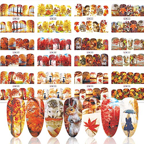 Fall Nail Art Stickers Decals Thanksgiving Nail Art Supplies/Accessories 12 Sheets Leaf Water Transfer Nail Art Stickers for Women Girls Kids DIY Thanksgiving Autumn Day Decorations