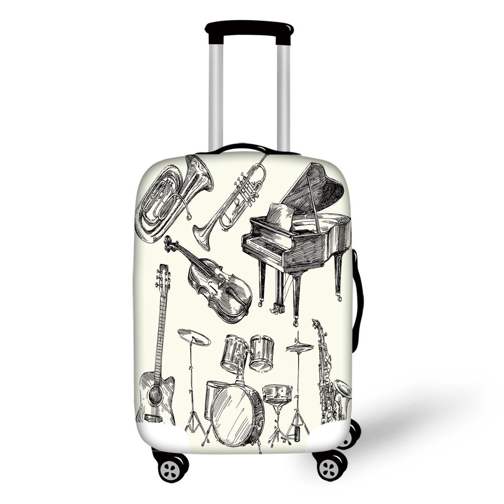 Travel Luggage Cover Suitcase Protector,Jazz Music,Collection of Musical Instruments Sketch Style Art with Trumpet Piano Guitar,Beige Black,for Travel