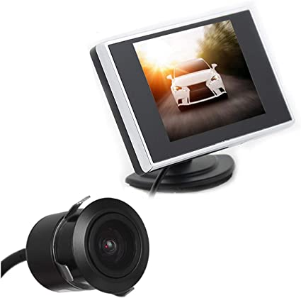 DONGMAO Monitor TFT LCD para Auto de 3.5 Pulgadas Auto TV Car + 18.5mm Cámara de Marcha atrás sin Orificio: Amazon.es: Coche y moto