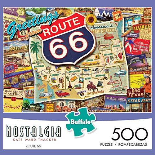 Review Buffalo Games – Kate Ward Thacker Nostalgia Collection – Route 66 – 500 Piece Jigsaw Puzzle