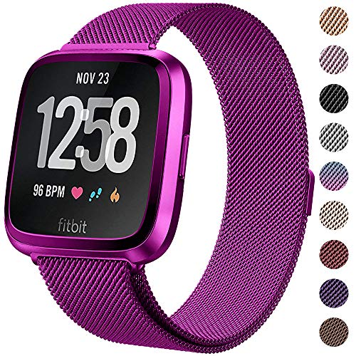 CAVN Metal Bands Compatible for Fitbit Versa Bands/Versa Lite Edition Bands for Women Men, Replacement Stainless Steel Wristband Accessories Strap (L(6.5''-9.3), Rose)
