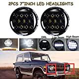 7 Inch Round Projector LED Headlight Assembly for International Harvester 4200 4300 4400 High & Low Beam Round Headlamp with H4 Plug H4-h13 Adapter - 1 Pair