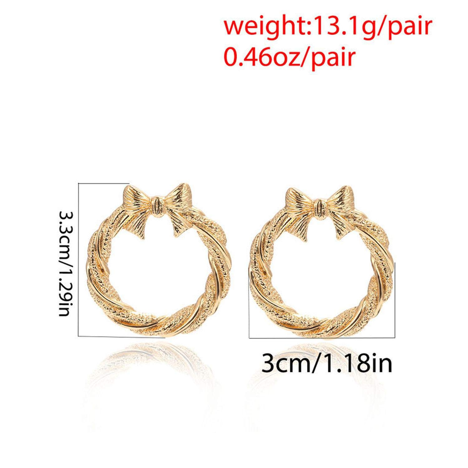 Bow Circle Stud EarringsGold Silver Color Earrings Party Wedding Gift 1Pair//lot