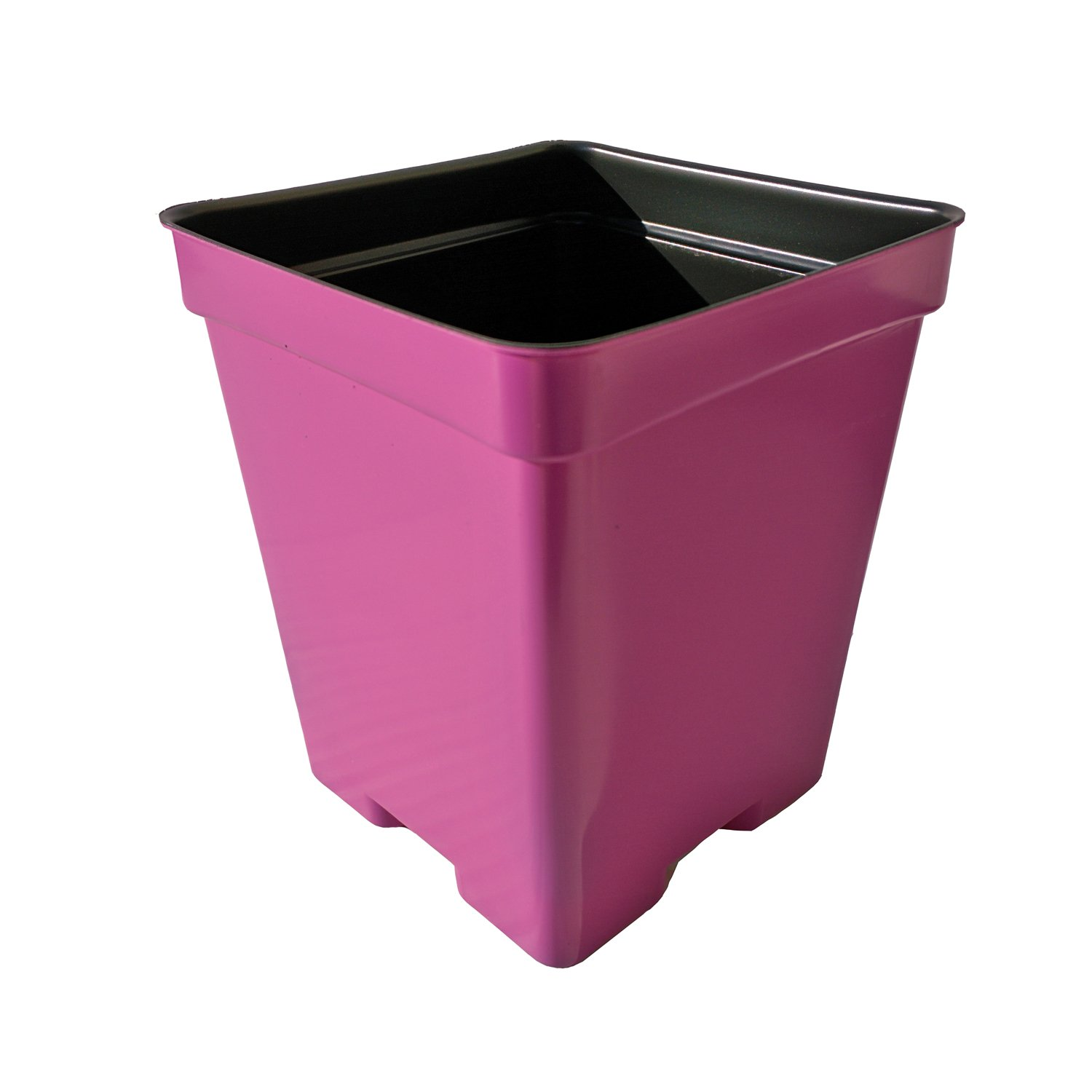 4 1/2 Inch Square Deep Press Fit Plastic Flower Pots - Made in USA Premium Quality, Reusable, Recyclable - Garden, Greenhouse, Seed Starting (Actual Dimensions 4.125'' Square By 5'' Deep) (Pink, 375)