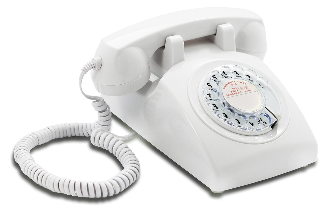 Designer Retro Phone//Rotary Dial Telephone//Retro Style Phone//Vintage Telephone//Classic Desk Phone with Rotary Dialler Opis 60s Cable with Red UK General Post Office Rotary Dial Inlay White