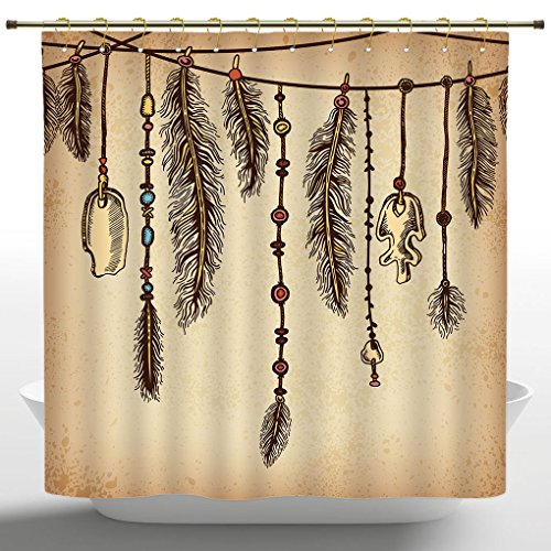 Artistic Shower Curtain by iPrint,Tribal,Bohemian Ethnic Hair Accessories with Bird Feathers Beads on String Sketch Digital Print,Brown,Water and Mould Resistant Polyester Fabric Curtains