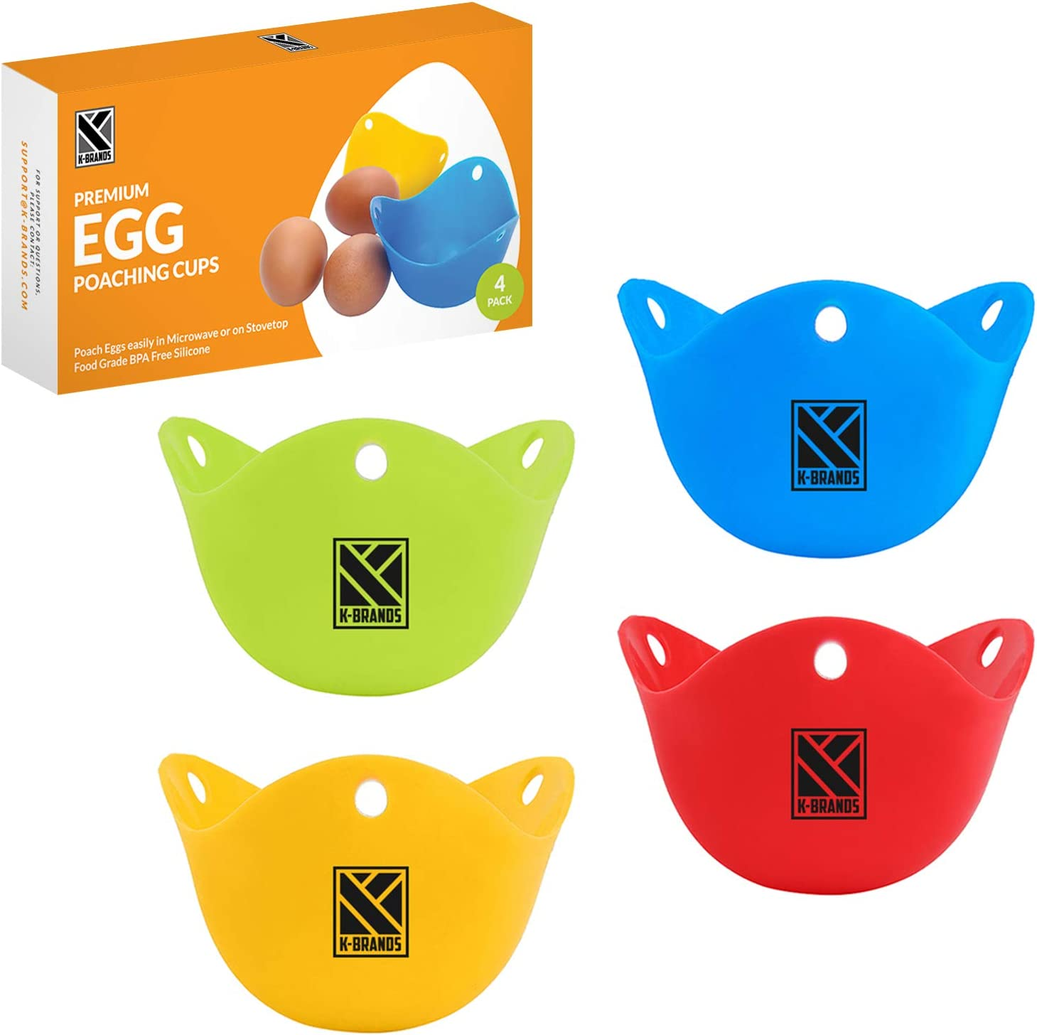 K-Brands Egg Poacher, Silicone Egg Poaching Cups for Microwave and Stovetop cooking - Food Grade BPA Free Silicone (4 Pack)