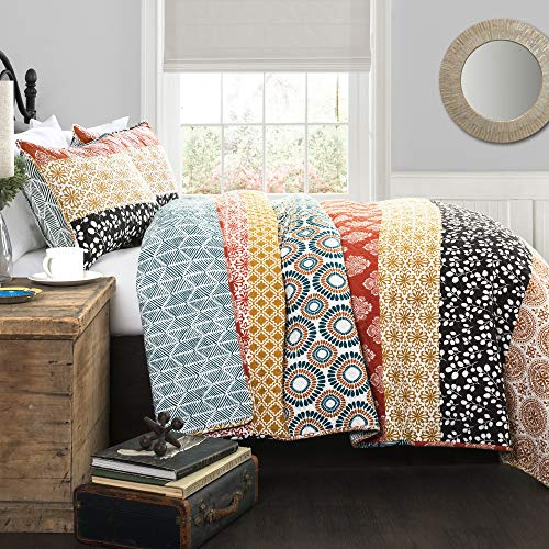 Lush Decor Bohemian Striped Quilt Reversible 3 Piece Bedding Set, King, Turquoise