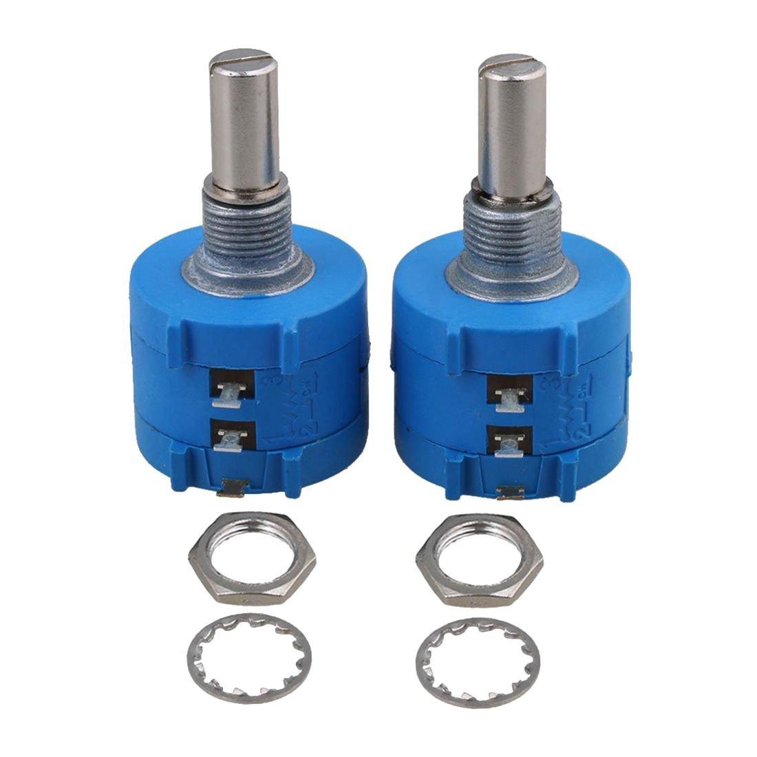 TOOGOO(R) 2 Pcs 10-Turn Rotary Wirewound Precision Potentiometer Pot Set 5K ohms