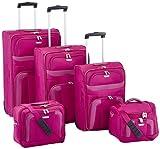 Travelite 98483-17 Orlando - Juego de maletas con ruedas, maletín de viaje y neceser (5 unidades, 71 x 61 x 51 cm, 103,01 L), color rosa