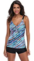 Attraco Women's Retro Oceanic Stripes Tie Front Two Piece Swimsuit Tankini