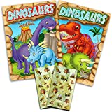 Dinosaur Coloring Book Super Set Kids Toddler -- 2 Books and Over 50 Dinosaur Stickers