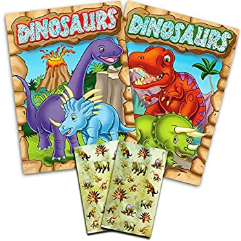 dinosaur coloring book super set kids toddler 2 books and over 50 dinosaur stickers - Dinosaur Coloring Books