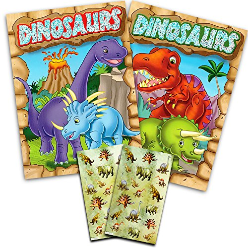 Dinosaur Coloring Book Super Set Kids Toddler -- 2 Books and Over 50 Dinosaur Stickers ()