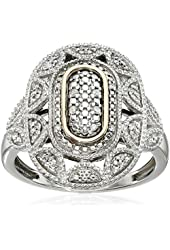 Sterling Silver and 14kt Gold Diamond Oval Art Deco Ring