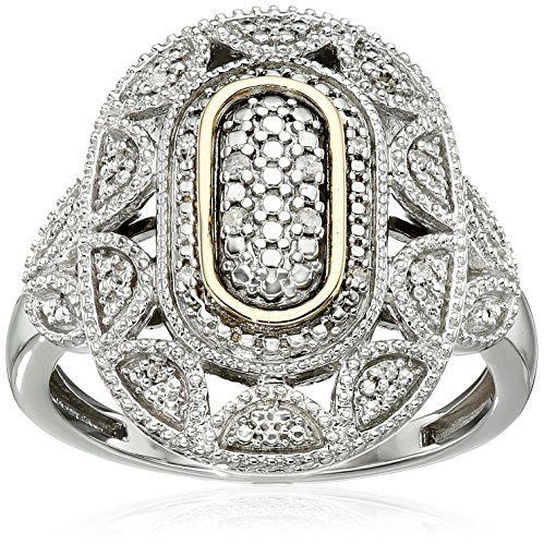14kt Gold White Diamond Oval Art Deco Ring, Size 7 (Cut Diamond Cocktail Ring)