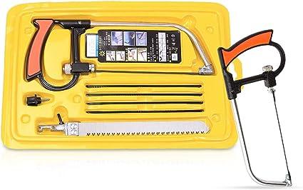 Amarillo Zeroall Mini Sierra de Mano Magia Sierra de Arco Universal Sierra para Metales con 6 Cuchillas de Acero Juego de Sierra de Mano para Metal Pl/ástico Vidrio Azulejo Cer/ámica