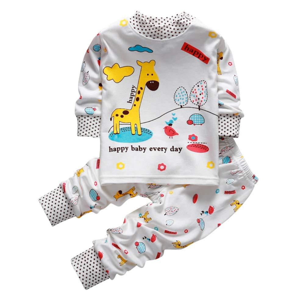 Zhengpin Baby Boys Girls Cartoon Print Little Kids Pjs Sets Toddler Sleepwears