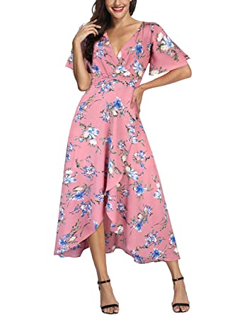 Newest Style Women V-neck Flare Sleeve Split Summer Dress Ruffle Asymmetrical Dress Beach Holiday Floral Empire Long Maxi Dress Women's Clothing