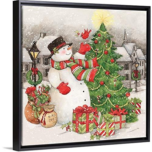 Vintage Snowman Black Floating Frame Canvas Art, 26