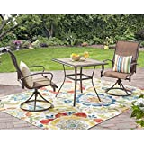 3-Piece Brown Waterproof Breathable All-Weather Sling Fabric Durable Powder-Coated Steel Frame Wesley Creek Bistro Set With Swivel Chairs