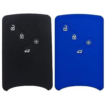 Funda de mando de silicona Coolbestda para llave de coche formato tarjeta, con sistema de acceso sin llave, 4 botones, para Renault Laguna, Koleos, ...