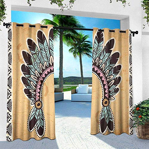 (Tribal, Outdoor Privacy Porch Curtains,Native American Feather Headband on Vintage Background Folk Aztec Illustration, W84 x L84 Inch, Pale Brown Mint)