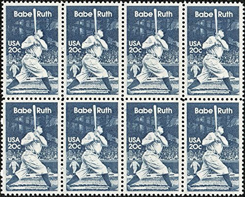 (BABE RUTH - THE BAMBINO - SULTAN OF SWAT #2046 Block of 8 x 20 US Postage Stamps)