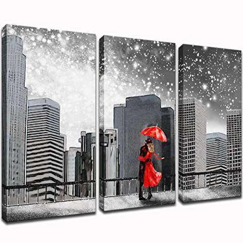 - KLVOS - Abstract 3 Piece Wall Art Black and White Couples with Red Umbrella Under New York Starry Night Cityscape Art Wall Decor Prints On Canvas Framed For Living Room Ready To Hang 16