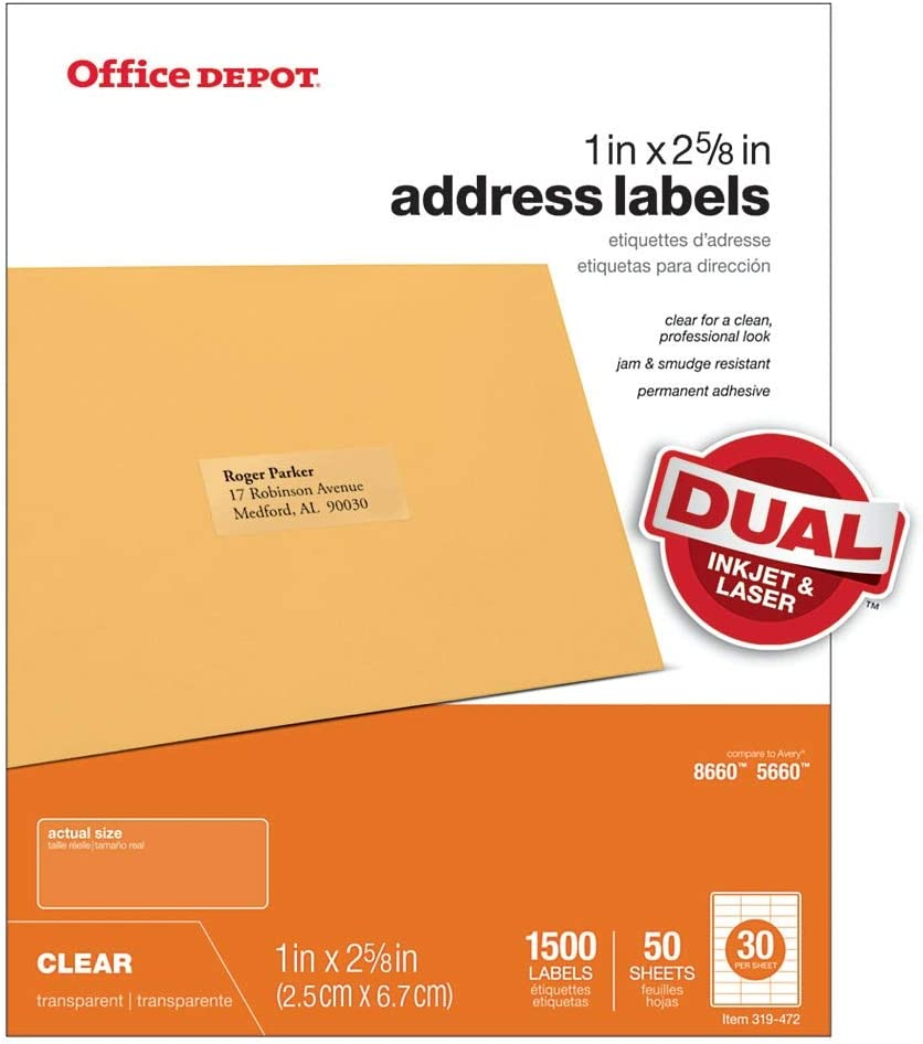"Office Depot Brand Address Labels, OD99312, 1"" x 2 5/8"", Clear, Pack of 1,500"