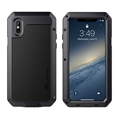 timeless design 3e3de c7674 iPhone X / Xs Case, Lanhiem Heavy Duty Shockproof [Tough Armor] Metal Case  with Built-in Screen Protector, 360 Full Body Protective Cover for iPhone X  ...