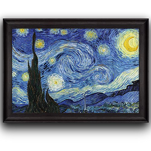 Wall26 - Starry Night by Vincent Van Gogh - Oil Painting, Impressionist, Artist - Framed Art Prints, Home Decor - 24x36 (Starry Night Framed)