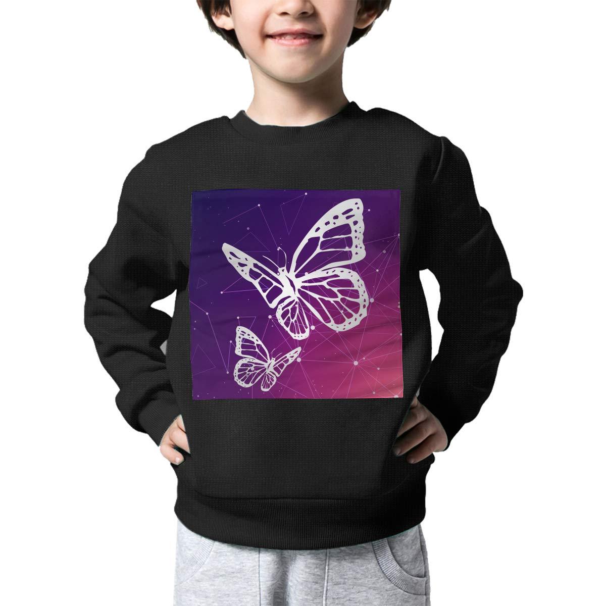 Monarch Butterfly Print Baby Girls Childrens Crew Neck Sweater Long Sleeve Cute Knit Sweatshirt