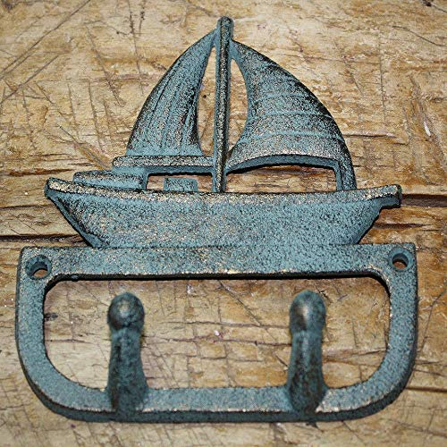 - Peppermint Store Cast Iron Antique Style Sailboat Coat Hooks Hat Hook Rack Towel Ship Nautical #XIPW
