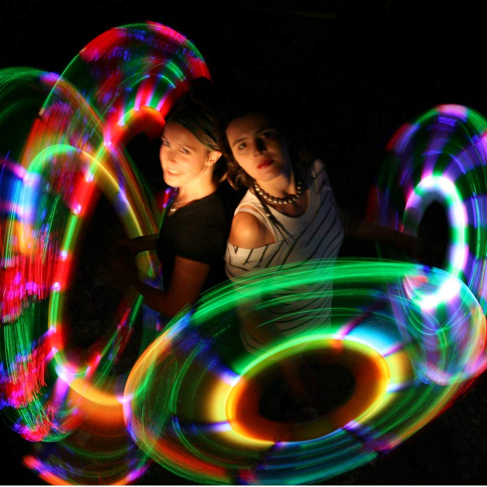 Speevers LED Poi Optic Fiber Poi for Professionals - Exciting Light Show and Fast USB Charge - Strobe & Fade Light Programs - LED Prop for Spinners 1 Year Warranty by Speevers (Image #4)