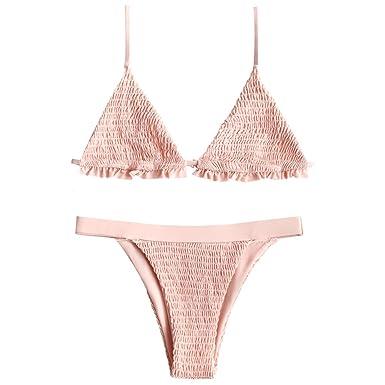 a490efd442 Amazon.com  ZAFUL Women s Bralette Smocked Ruffles Bikini Set  Clothing