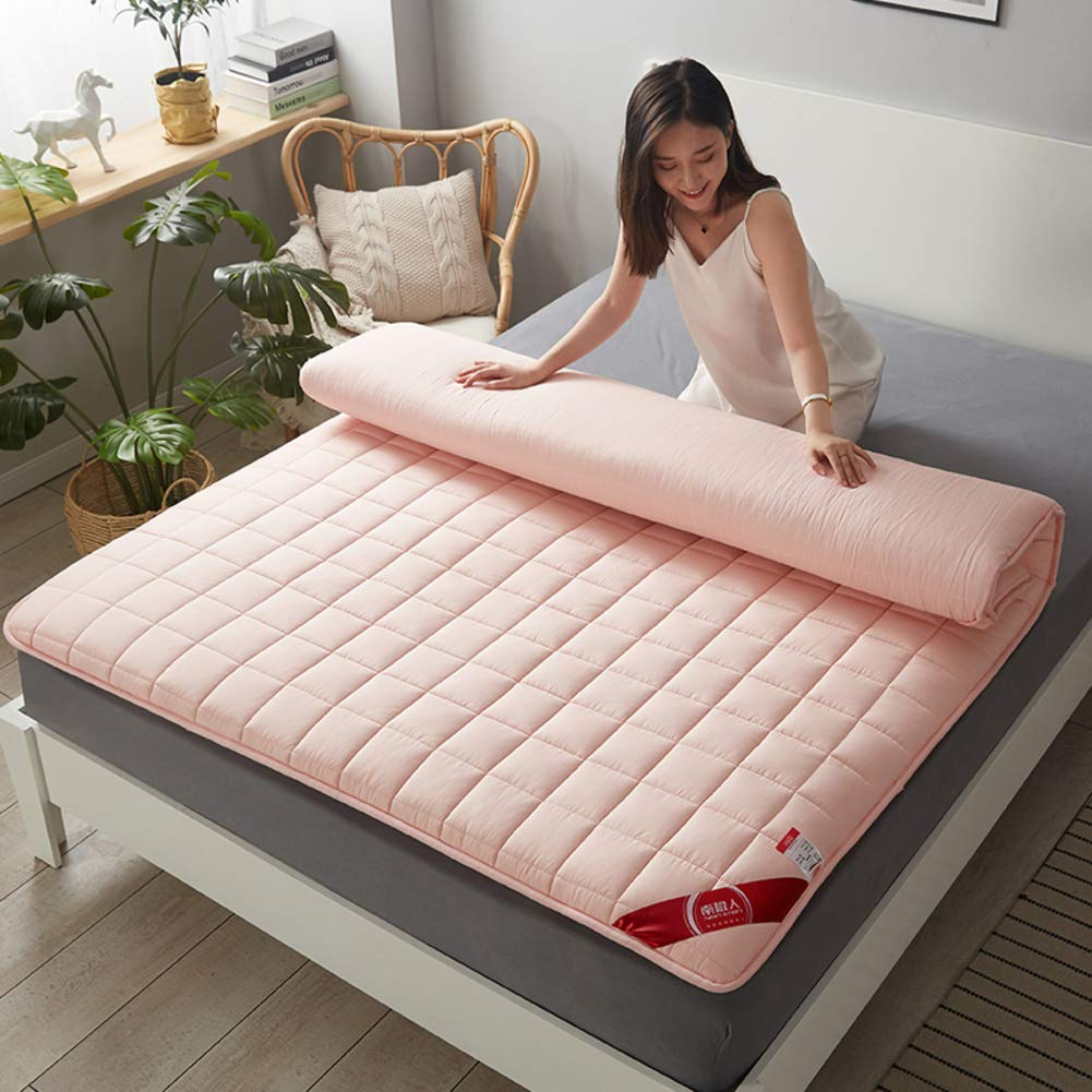 HIGHKAS All Cotton Fabric Mattress,Quilted Breathable Tatami Floor Mat Not-Slip Thicken Futon Collapsible Mattress Pad Back Pain Relief-pink 150x200cm(59x79inch)
