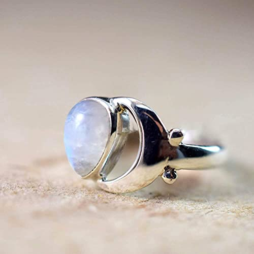 Pear Moonstone Ring 925 Sterling Silver Ring Gemstone Silver Gift Ring Natural Rainbow Moonstone Gemstone Ring Artisan Handmade Ring