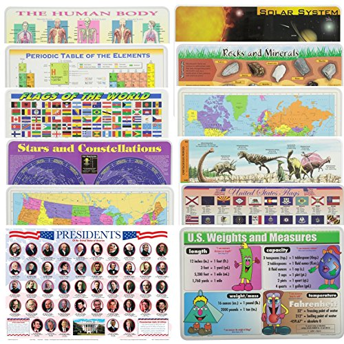 Painless Learning Educational Placematsfor Kids USA World Maps, Presidents, World Flags, States Flags, Solar System, Stars, Rocks, Human Body, Periodic Table, Dinosaurs, U.S Wights and Measures 12 PK for $<!--$37.99-->