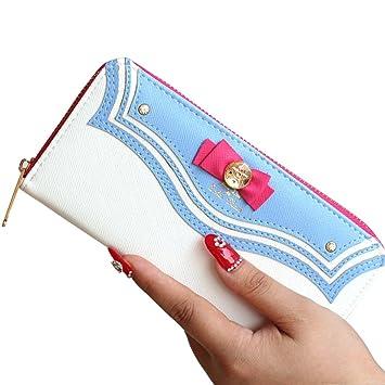 Hrph Nueva cartera de Sailor Moon Mujeres Long monedero del cambio del arco titular de la tarjeta del bolso de embrague