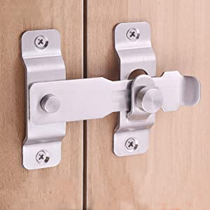 Barn Door Latch Sliding Lock Stainless Steel, Barns Doors Hasp Lock for Window Cabinet Garage and Shed Flip Gate Latches Latch Safety Barrel Bolt