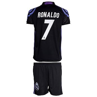 free shipping 3dcdc 73f4d Real Madrid #7 Ronaldo Away Black Kids Jersey & Shorts ...