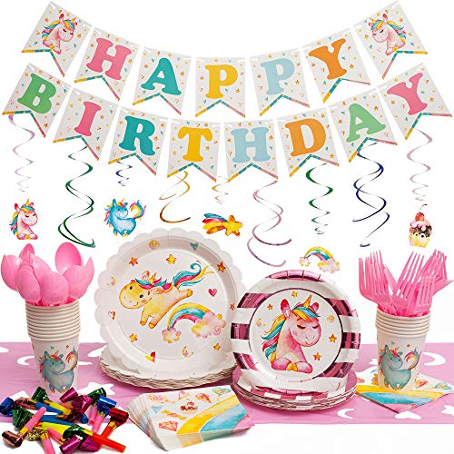 145 Piece Unicorn Party Supplies Pack - Serves 16 Guests - Disposable Paper Plates - Napkins - Cutlery & Cups - Birthday Banner - Swirly Decorations & Table Cloth for Girls