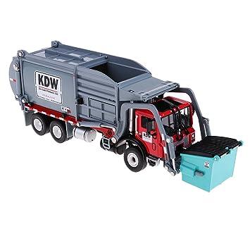 Homyl 1 24 Juguete De Camion De Transporte Carro De Reciclaje De